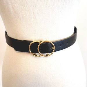 Justice Girls Black Faux Leather Belt size small
